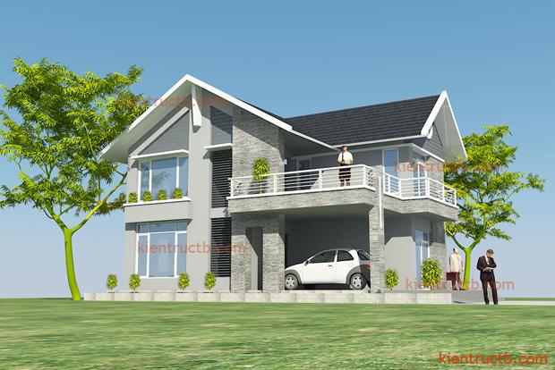 thiết kế biệt thự 2 tầng tại Thái Bình