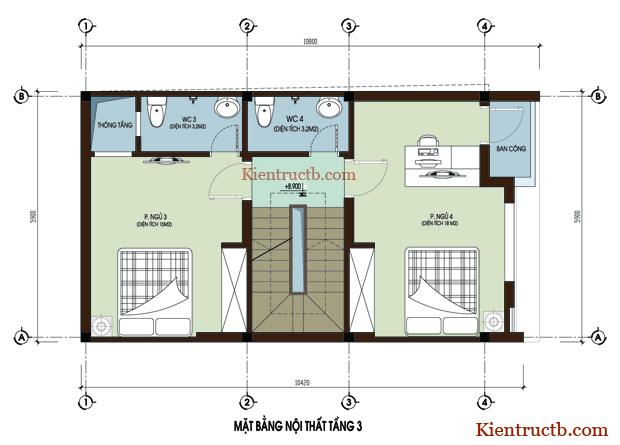 Thiết kế nhà ống 4 tầng tại Thái Bình 05